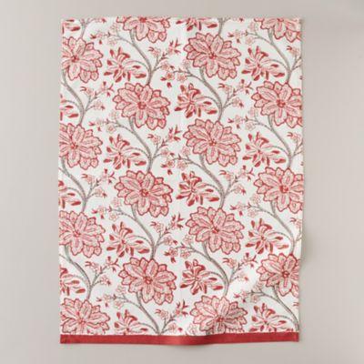 Red Florals Tea Towel