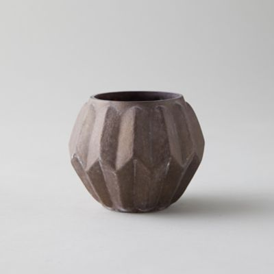 Ridged Rustic Purple Tea Light Holder