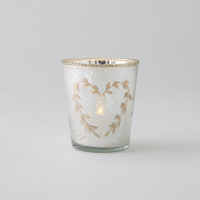 Etched Heart Mercury Glass Votive