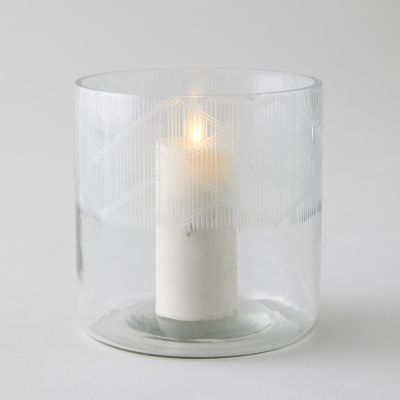 Geo Etched Glass Votive