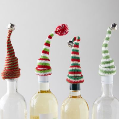 Knit Hat Wine Bottle Topper, Set of 4