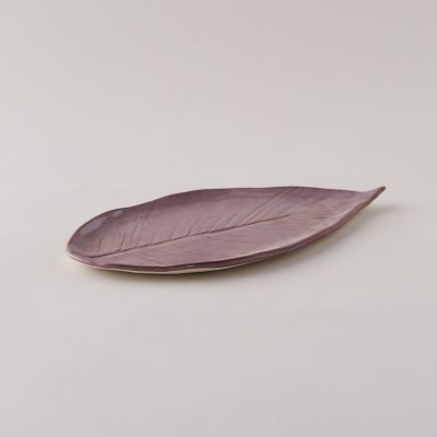 Stoneware Leaf Platter, Long