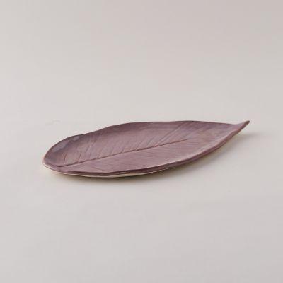Stoneware Leaf Platter, Long