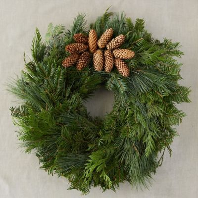 Fresh Evergreen + Pinecone Cluster Wreath