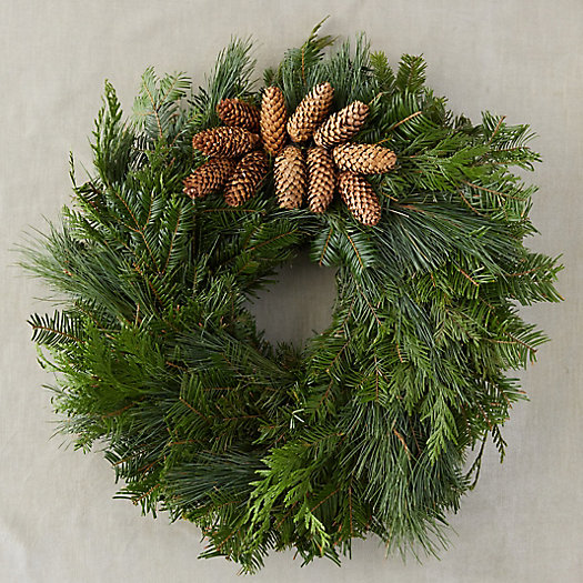 View larger image of Fresh Evergreen + Pinecone Cluster Wreath