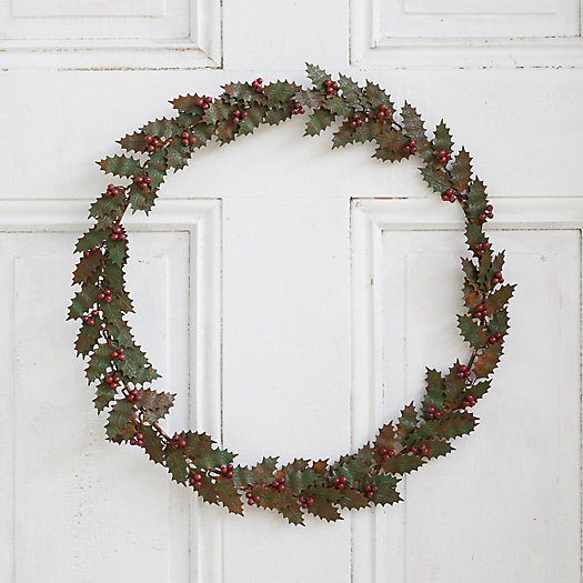 View larger image of Iron + Bead Holly Berry Wreath