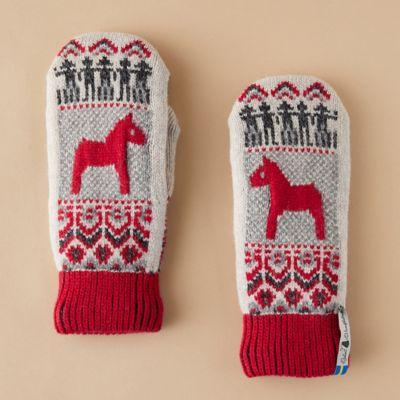 Wool Dalarna Horse Mittens