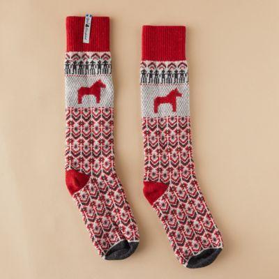 Wool Dalarna Horse Socks