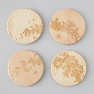 Maple Wood Engraved Coaster Set
