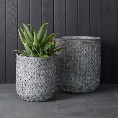 Tall Bamboo Basket Pot