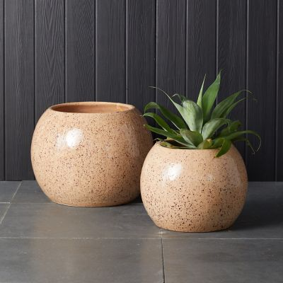 Speckled Ceramic Sphere Planter