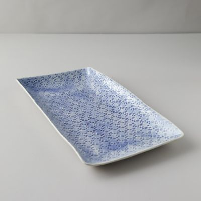 Color Washed Floral Serving Platter