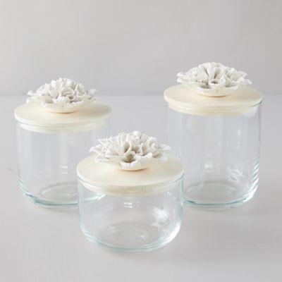 Glass Storage Canister, Decorative Mum Lid