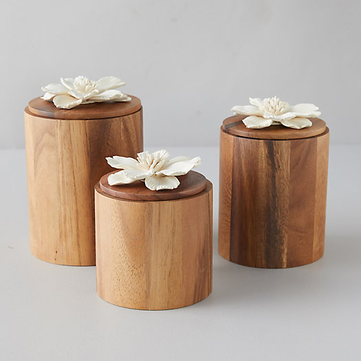 View larger image of Acacia Wood Canister, Decorative Magnolia Lid