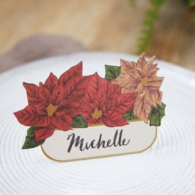 Poinsettia Place Cards, Set of 12