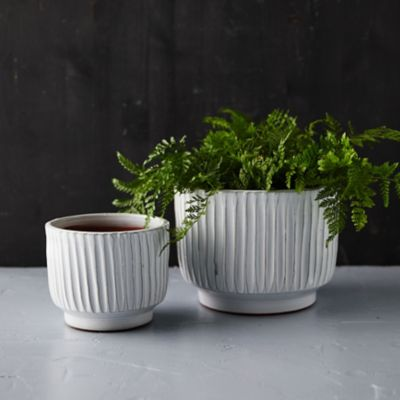 Textured Lines Ceramic Pot