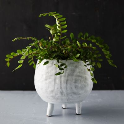 Cross Hatch Footed Pot