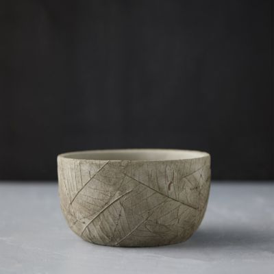 Leaf Imprint Cement Bowl Pot