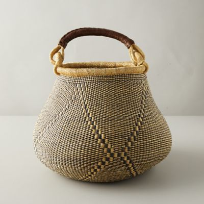 Leather-Handle Woven Raffia Basket, Geo