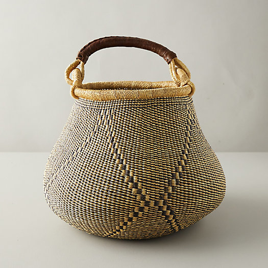 View larger image of Leather-Handle Woven Raffia Basket, Geo