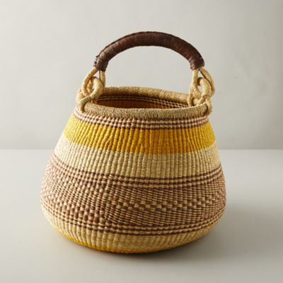 Woven Raffia Leather-Handle Basket, Stripe