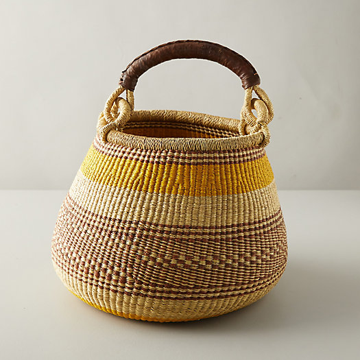 View larger image of Woven Raffia Leather-Handle Basket, Stripe