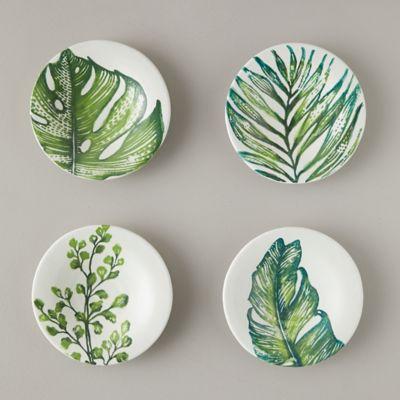 Tropical Leaf Dessert Plates, Set of 4