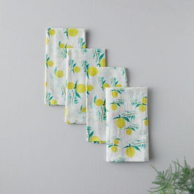 Zesty Lemon Linen Napkins, Set of 4