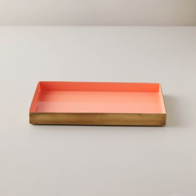 Enamel Decorative Tray, Coral
