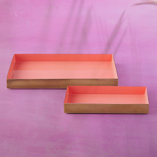View larger image of Enamel Decorative Tray, Coral