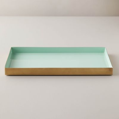Enamel Decorative Tray, Mint Blue
