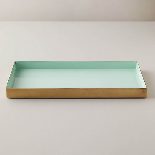 View larger image of Enamel Decorative Tray, Mint Blue