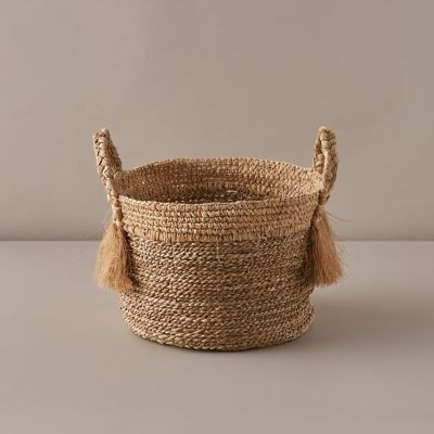 Braided + Frayed Handle Woven Grass Basket