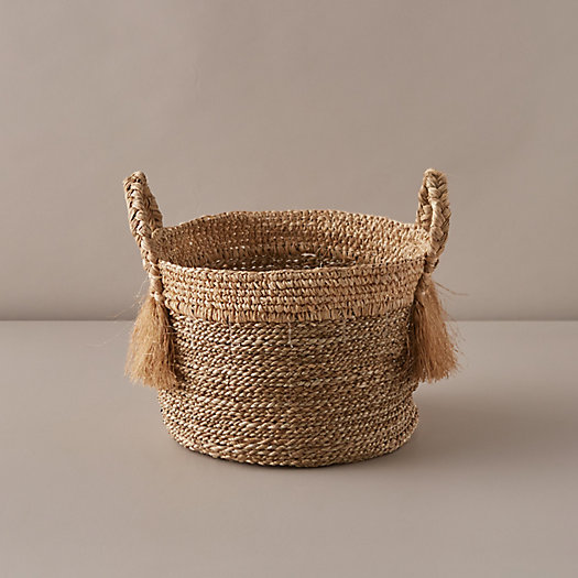 View larger image of Braided + Frayed Handle Woven Grass Basket