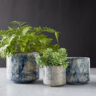 Ceramic Blue Marbled Pot