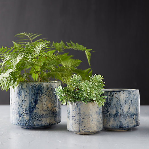View larger image of Ceramic Blue Marbled Pot