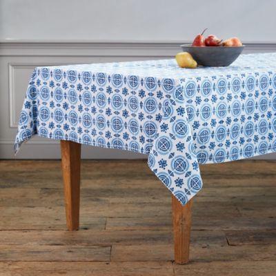 Blue Geo Cotton Tablecloth