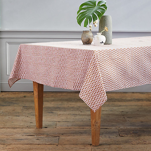 View larger image of Guava Dot Cotton Tablecloth