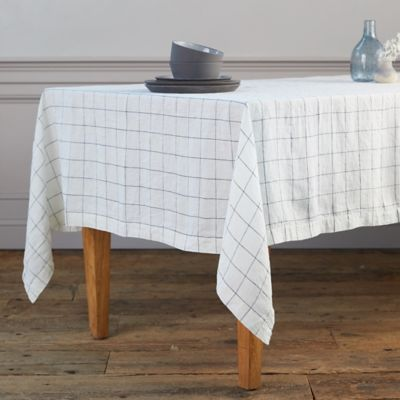 Lithuanian Linen Tablecloth, Stone Washed Windowpane