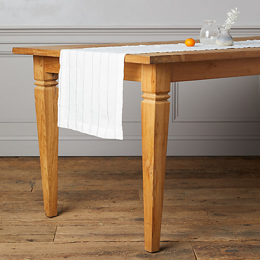 View larger image of Lithuanian Linen Runner, Stone Washed Stripe