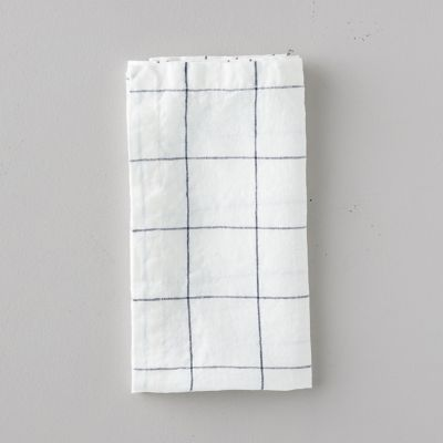 Lithuanian Linen Napkin, Stone Washed Windowpane