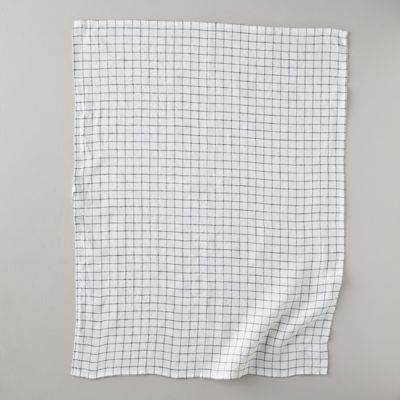 Lithuanian Linen Tea Towel, Stone Washed Check