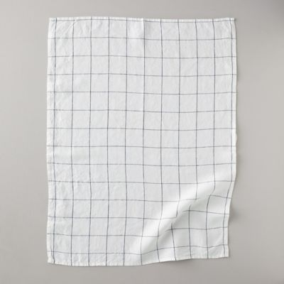 Lithuaninan Linen Tea Towel, Stone Washed Windowpane