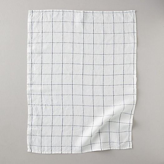 View larger image of Lithuaninan Linen Tea Towel, Stone Washed Windowpane