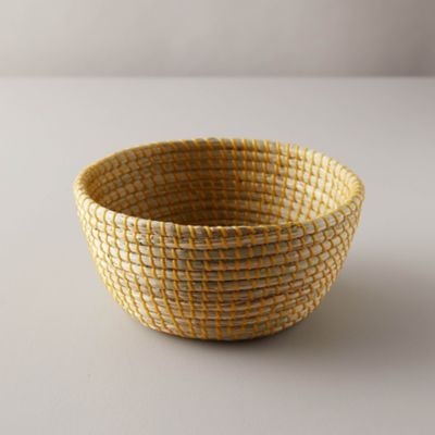 Woven Yellow Seagrass Bowl