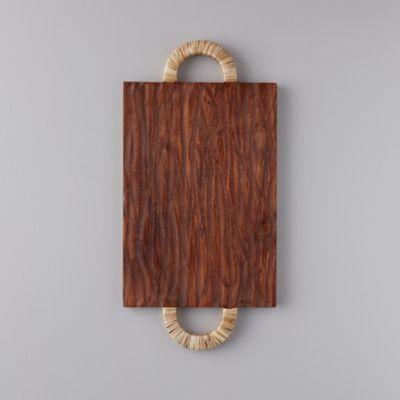 Acacia Wood + Rattan Cutting Board, Rectangle