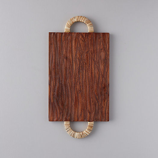 View larger image of Acacia Wood + Rattan Cutting Board, Rectangle