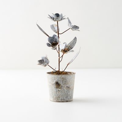 Aged Metal Potted Flowers + Stems, Silver