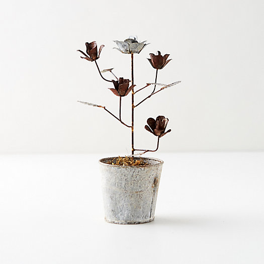 View larger image of Aged Iron Potted Flowers, Silver + Copper