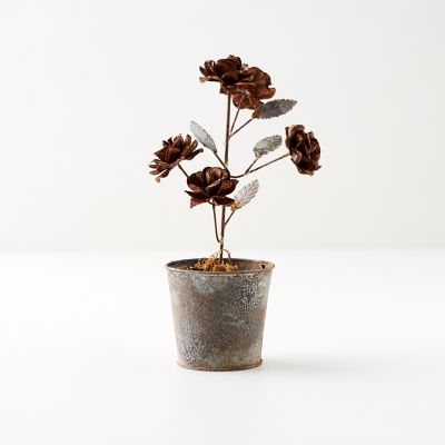 Aged Iron Potted Roses, Copper